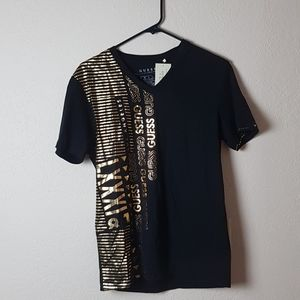 Guess jet black tshirt. Gold details. NWT